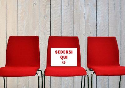 Cartelli sedia per distanziamento sociale; grafica personalizzabile; differenti misure disponibili